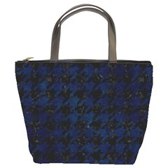 Houndstooth1 Black Marble & Blue Grunge Bucket Bag