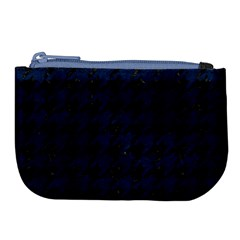 Houndstooth1 Black Marble & Blue Grunge Large Coin Purse