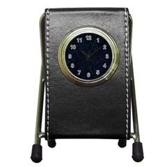 Damask1 Black Marble & Blue Grunge Pen Holder Desk Clock