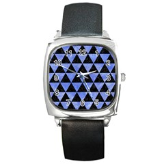 Triangle3 Black Marble & Blue Watercolor Square Metal Watch