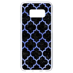 Tile1 Black Marble & Blue Watercolor Samsung Galaxy S8 White Seamless Case