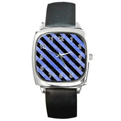 Stripes3 Black Marble & Blue Watercolor (r) Square Metal Watch