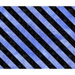 STRIPES3 BLACK MARBLE & BLUE WATERCOLOR (R) Deluxe Canvas 14  x 11  (Stretched) 14  x 11  x 1.5  Stretched Canvas