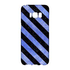 Stripes3 Black Marble & Blue Watercolor (r) Samsung Galaxy S8 Hardshell Case