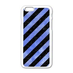 Stripes3 Black Marble & Blue Watercolor Apple Iphone 6/6s White Enamel Case