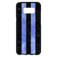Stripes1 Black Marble & Blue Watercolor Samsung Galaxy S8 Plus Black Seamless Case