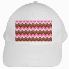 Shades Of Pink And Brown Retro Zigzag Chevron Pattern White Cap
