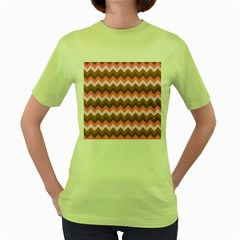 Shades Of Pink And Brown Retro Zigzag Chevron Pattern Women s Green T Shirt