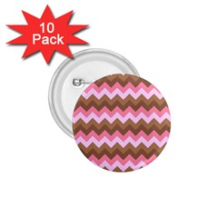 Shades Of Pink And Brown Retro Zigzag Chevron Pattern 1 75  Buttons (10 Pack)