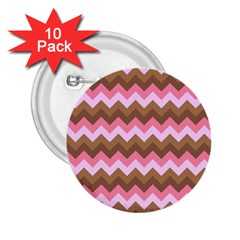 Shades Of Pink And Brown Retro Zigzag Chevron Pattern 2 25  Buttons (10 Pack)