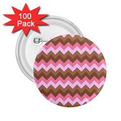 Shades Of Pink And Brown Retro Zigzag Chevron Pattern 2 25  Buttons (100 Pack)