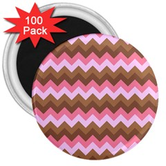 Shades Of Pink And Brown Retro Zigzag Chevron Pattern 3  Magnets (100 Pack)