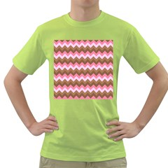 Shades Of Pink And Brown Retro Zigzag Chevron Pattern Green T Shirt