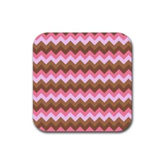Shades Of Pink And Brown Retro Zigzag Chevron Pattern Rubber Coaster (square)