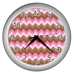 Shades Of Pink And Brown Retro Zigzag Chevron Pattern Wall Clocks (silver)