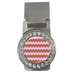 Shades Of Pink And Brown Retro Zigzag Chevron Pattern Money Clips (cz)