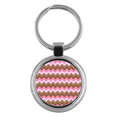 Shades Of Pink And Brown Retro Zigzag Chevron Pattern Key Chains (round)