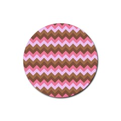 Shades Of Pink And Brown Retro Zigzag Chevron Pattern Rubber Round Coaster (4 Pack)