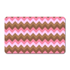 Shades Of Pink And Brown Retro Zigzag Chevron Pattern Magnet (rectangular)