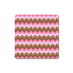 Shades Of Pink And Brown Retro Zigzag Chevron Pattern Square Magnet