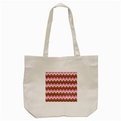 Shades Of Pink And Brown Retro Zigzag Chevron Pattern Tote Bag (cream)