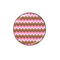 Shades Of Pink And Brown Retro Zigzag Chevron Pattern Hat Clip Ball Marker