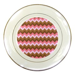 Shades Of Pink And Brown Retro Zigzag Chevron Pattern Porcelain Plates