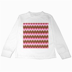 Shades Of Pink And Brown Retro Zigzag Chevron Pattern Kids Long Sleeve T Shirts