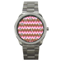 Shades Of Pink And Brown Retro Zigzag Chevron Pattern Sport Metal Watch