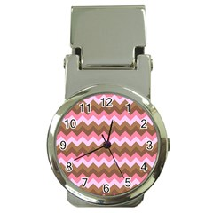 Shades Of Pink And Brown Retro Zigzag Chevron Pattern Money Clip Watches