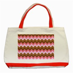 Shades Of Pink And Brown Retro Zigzag Chevron Pattern Classic Tote Bag (red)