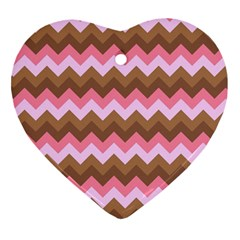 Shades Of Pink And Brown Retro Zigzag Chevron Pattern Heart Ornament (two Sides)