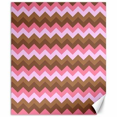 Shades Of Pink And Brown Retro Zigzag Chevron Pattern Canvas 8  X 10