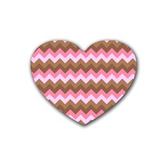 Shades Of Pink And Brown Retro Zigzag Chevron Pattern Heart Coaster (4 Pack)