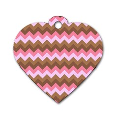 Shades Of Pink And Brown Retro Zigzag Chevron Pattern Dog Tag Heart (two Sides)