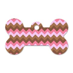 Shades Of Pink And Brown Retro Zigzag Chevron Pattern Dog Tag Bone (one Side)