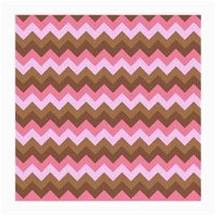 Shades Of Pink And Brown Retro Zigzag Chevron Pattern Medium Glasses Cloth (2 Side)