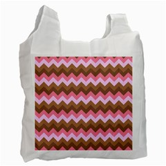 Shades Of Pink And Brown Retro Zigzag Chevron Pattern Recycle Bag (one Side)