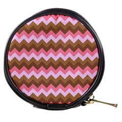 Shades Of Pink And Brown Retro Zigzag Chevron Pattern Mini Makeup Bags