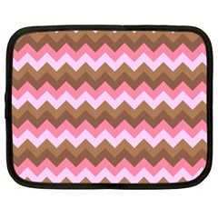 Shades Of Pink And Brown Retro Zigzag Chevron Pattern Netbook Case (xxl)
