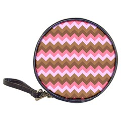 Shades Of Pink And Brown Retro Zigzag Chevron Pattern Classic 20 Cd Wallets