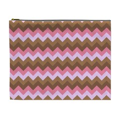 Shades Of Pink And Brown Retro Zigzag Chevron Pattern Cosmetic Bag (xl)