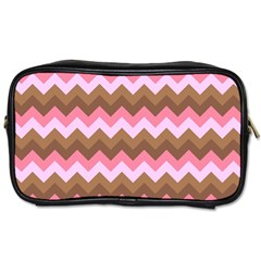 Shades Of Pink And Brown Retro Zigzag Chevron Pattern Toiletries Bags 2 Side