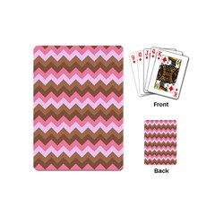 Shades Of Pink And Brown Retro Zigzag Chevron Pattern Playing Cards (mini)