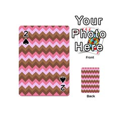 Shades Of Pink And Brown Retro Zigzag Chevron Pattern Playing Cards 54 (mini)