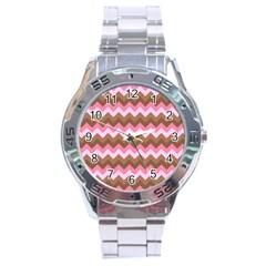 Shades Of Pink And Brown Retro Zigzag Chevron Pattern Stainless Steel Analogue Watch