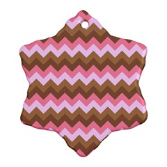 Shades Of Pink And Brown Retro Zigzag Chevron Pattern Ornament (snowflake)
