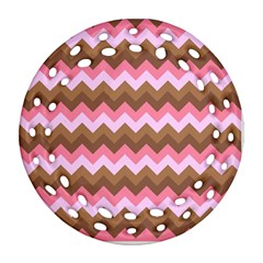 Shades Of Pink And Brown Retro Zigzag Chevron Pattern Round Filigree Ornament (two Sides)