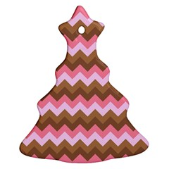 Shades Of Pink And Brown Retro Zigzag Chevron Pattern Christmas Tree Ornament (two Sides)
