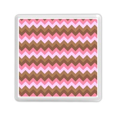 Shades Of Pink And Brown Retro Zigzag Chevron Pattern Memory Card Reader (square)